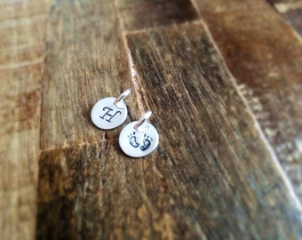 Elegant Personalized Hand Stamped Charm ~ Initial Charm -~Personalized Sterling Silver Add On ~ Necklace Pendant Disc