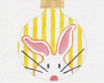 The White Bunny Yellow Stripes Needlepoint Ornament - Jody Designs - Yellow