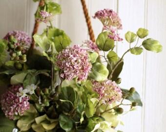 Spring Allium Basket - Cottage Garden Wreath - Front Door Flower Basket - Spring Flowers