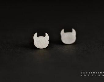 Sterling Silver Devil Head Stud Earrings