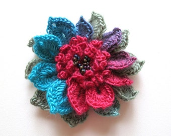 FREE US SHIPPING - Turquoise Blue Raspberry Red Sage Green Color Crochet Statement Flower Brooch Hat Hair Shawl Scarf Pin