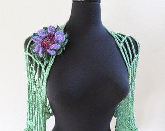 Mint Green Color Crochet Lacy Strings Summer Fashion Shoulder Shrug Wedding Short Sleeves Bolero Wrap Scarf