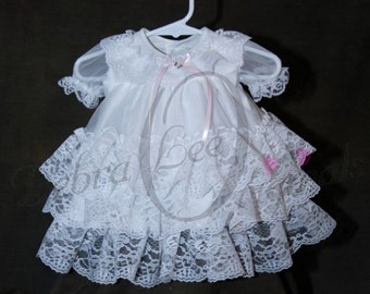 Chloe lace dress, lace flower girl dress  Baby Girl lace, Christening Dress, White Blessing Gown