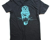 Mens Owl shirt / Grey Owl Shirt / Organic / Small, Medium, Large, Extra Large, 2X - Clothing - Harry Potter - Eco Friendly Tee