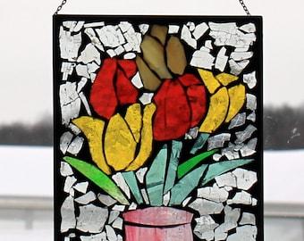 Tulips, stained glass mosaic. ,.waLL Art Panel, window panel, suncatcher