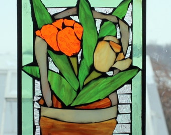 orange  and yellow tulips in Basket . stained glass mosaic. ,.waLL Art Panel, window panel, suncatcher