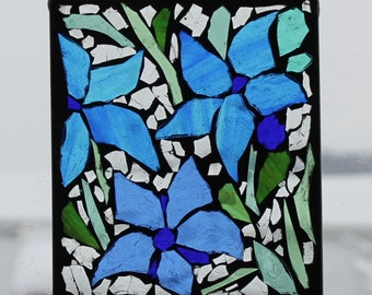 Mosaic , Blue Flowers, Stained Glass Mosaic
