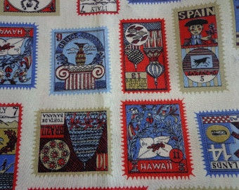 Vintage Postage Stamps of the World Fabric