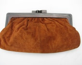 Vintage 1960's brown suede clutch, made in Italy for Hudson's