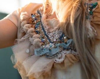 pom pom silk lace beaded necklace, boho beaded pale blue lace necklace, Fringe beaded bib necklace, gypsy tattered vintage lace necklace