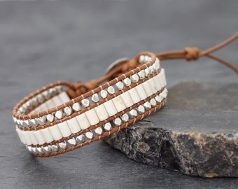 White Turquoise Tube Silver Light Brown Bracelet