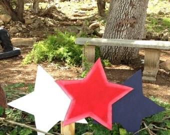 Patriotic Triple Star yard decoration