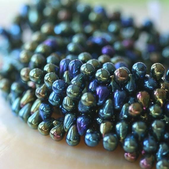 Teardrop Beads: 6x4mm Teardrop Beads Czech Glass Beads By Funkyprettybeads