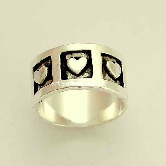 Valentines Band, Sterling silver band, triple hearts ring, wedding ring, engagement ring, oxidized silver ring - Live laugh love. R1281A