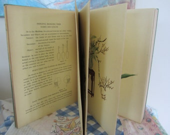 Vintage Flower Arrangements of the Ohara School Accordion Fold Cloth Bound Book 1952 Full Color Plates