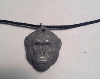 Herbie Chimpanzee Pendant necklace light cold cast pewter