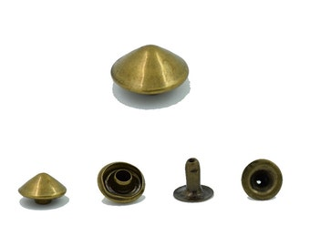 100 pcs. Antique Brass Cone Rivets Studs Decorations Findings 8 mm. Co Br 8 26 RV 3