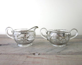 Mid Century Glass Sugar and Creamer Set with Silver Overlay