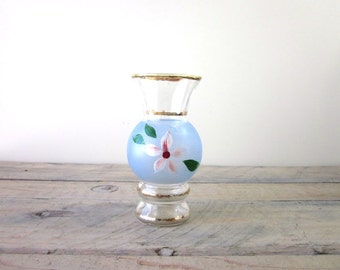 Vintage Hand Painted Glass Vase Blue with Flower