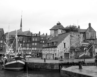 Honfleur France Old Pier black and white photograph