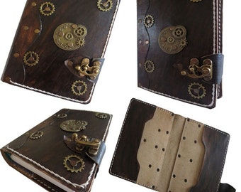 Refillable leather journal - steampunk leather journal - leather journal - vintage leather journal - leather notebook - handmade journal