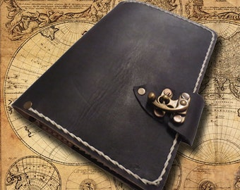 Refillable leather journal - black leather journal - leather journal - vintage leather journal - leather notebook - handmade leather journal