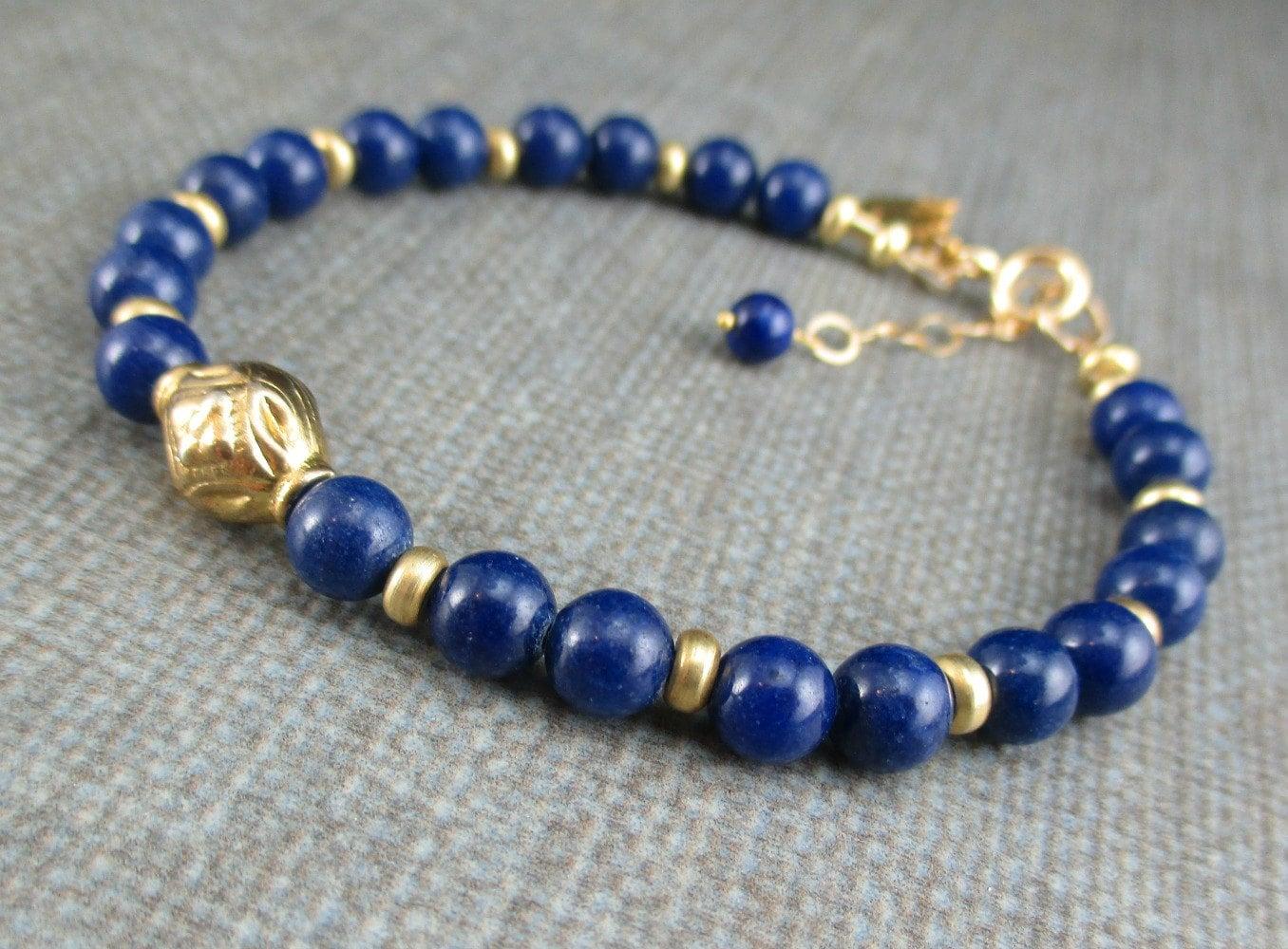 gold lapis lazuli bracelet lapis lazuli layering bracelet