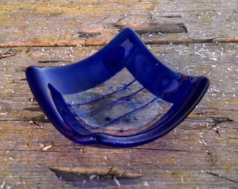 Fused Glass Dish - Salt Bowl - Candle Holder - Cobalt Blue with Clear Center - Home Kitchen Decor