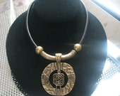 Handmade necklace-16 inch bronze and leather necklace-tribal pendant necklace