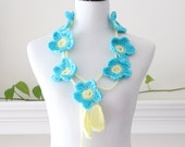 Crochet Turquoise and Pale yellow Flower Lariat, Necklace, Scarf, Scarflette