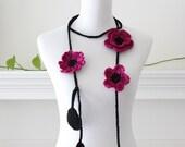 Crochet Darkpink Black Lariat  Necklace, Scarflette