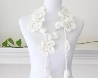 Crochet Cream Flower Necklace, Lariat, Scarf, Scarflette