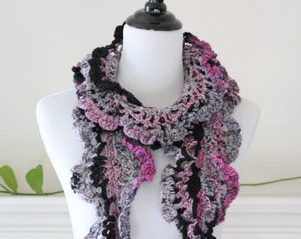 Crocheted Black, Pink, Gray Scarf