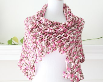 Crocheted Pink and Brown  Shawl, Scarf, Capelet, Shrug