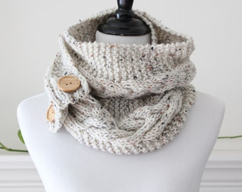 Knitted Long Oatmeal color Infinity Scarf