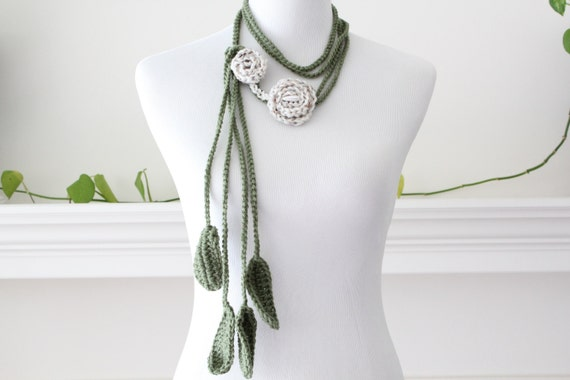 Crocheted Oatmeal Green Lariat Necklace, Scarf, Scarflette