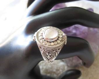 Sterling Silver Moonstone Secret Compartment Ring SIZE 9.5:  silver, personalized, tribute, rock, gem, memorial, tribute,