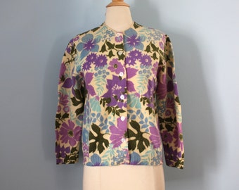 1960s wool sweater / 60s floral cardigan / Chapel Hill Cardigan