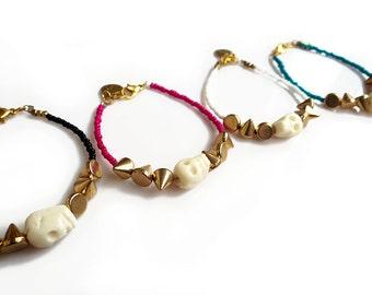 Boho Skull Beaded Bracelet, Spike Bracelet, Custom Stackable Bracelet, Personalized Bracelet, Customized Jewelry