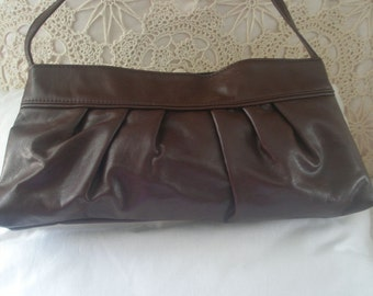Chocolate Brown Nine West Leather Shoulder Clutch Purse