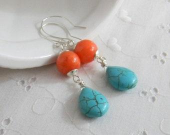 Summer earrings, Turquoise blue and orange earrings, beachy earrings, Bright earrings, Handmade Dangle earrings