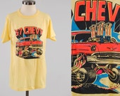 Vintage 1970s 57 CHEVY yellow t shirt / HOT ROD t shirt / super soft and thin