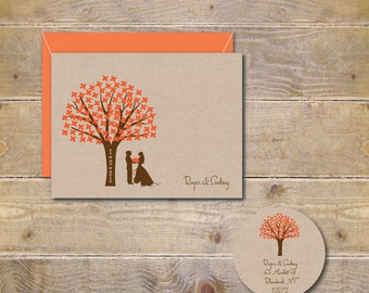 Wedding Thank You Cards, Thank You Cards,  Outdoor Wedding,  Bridal Shower, Trees, Silhouettes, Wedding Date, Affordable Wedding