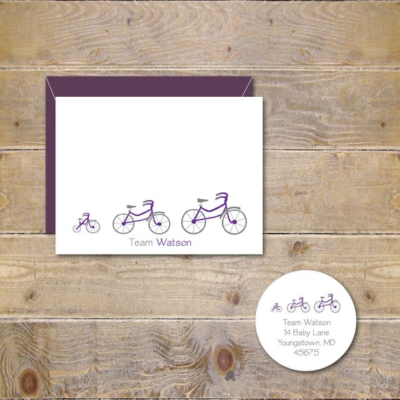 Bicycle Baby Announcements, Bicycles, Baby Shower Thank You Cards, New Baby Cards, Baby Thank You Cards, Bicycle Thank you cards, Tricycles