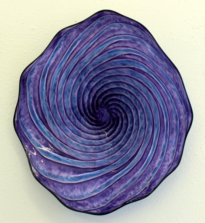 beautiful hand blown glass art swirled wall platter bowl. Black Bedroom Furniture Sets. Home Design Ideas
