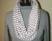 Mini Gray White Chevron Infinity Minky Scarf - Fashion Scarf -Classic Professional Gray - Fabric - Multicolor - Extremely Soft  - Cowl Scarf