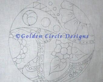 "7"" Round Doodle Art Custom Hand Embroidery/Crewel Design on Linen"