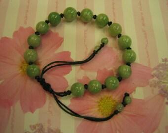 GREEN BEAN  ....  Natural Jade  Bracelet  ..  Handknotting Jewelry