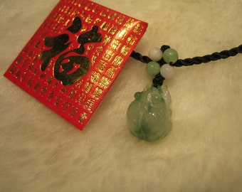 LOVELY BEETLE .... Natural  Jade  Pendant/Necklace/Choker  ..  Handknotted Jewelry