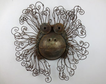 Funky Rusty Monkey Head Sculpture Re purposed Art Orangutan